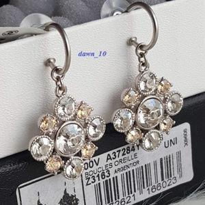 Chanel Cluster CC Crystal Dangle Earrings